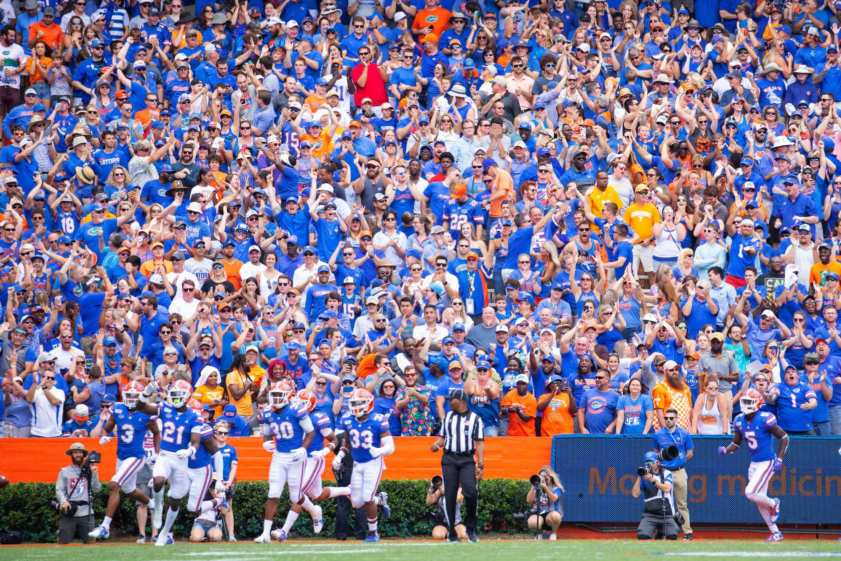 football game with crowd