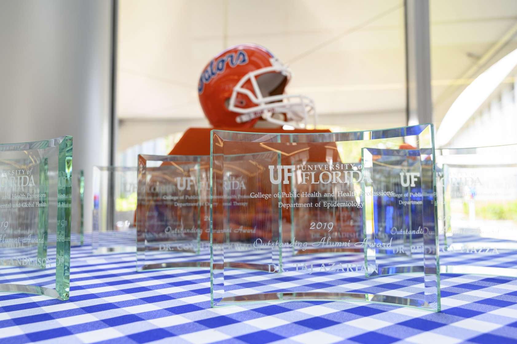 alumni awards on table
